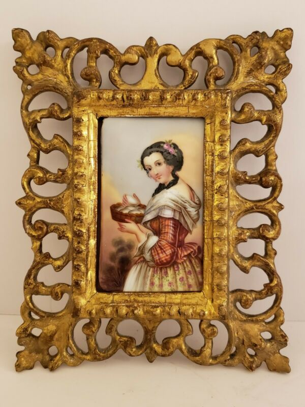 Antique 19th C. Framed Victorian Portrait KPM Hand Painted Porcelain Plaque