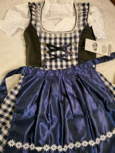 Girls,Kids,sz 8.Germany,German,Trachten,May,Dirndl Dress,3-pc.Dark Blue.B-Ware