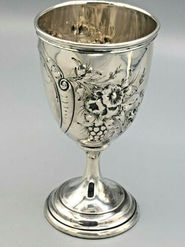 """Antique Silver Wine Goblet, Hand Chased, Coin Silver 5 1/8"""""""