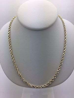 """New 14K Yellow Gold 20"""" Hollow Diamond Cut Rope Chain Necklace 5.7 grams 3 mm"""