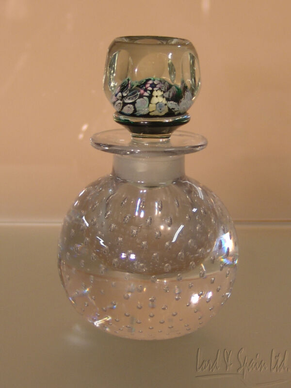 Pairpoint Controlled Bubble Paperweight Bottom/Millefiori Stopper Perfume Bottle
