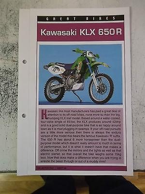 KAWASAKI KLX 650R collector file fact sheet.