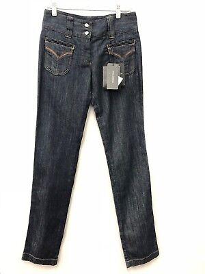 - NWT! Dolce & Gabbana High Waist Straight Leg Leather Trim Denim Jeans - 38 IT