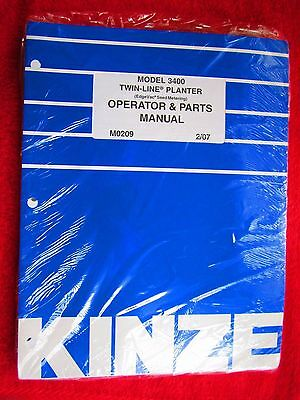 2007 Kinze Model 3400 Twin-line Planter Operators Parts Manual M0209