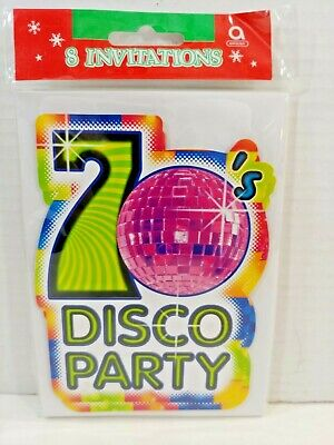 Retro Mid Century DISCO Ball 70s Flash Fever Dance Party INVITATION CARDS - Cheap Party Invitations