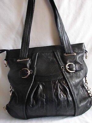 - JUNIOR DRAKE Pleated Leather Hobo Shoulder Bag Handbag