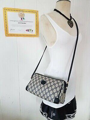 Vintage Gucci Crossbody Bag Purse GG Monogram Web Auth PVC vinyl leather 80s VGC