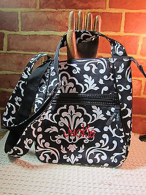 THIRTY-ONE MESSENGER BAG BLACK AND WHITE MONOGRAMMED