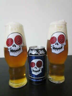 TWO (2) x 16oz Glasses Collectible Halloween Laughing Skull Vortex - Halloween Beer Glasses