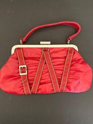 Fina Firenze Red Handbag Baguette with Grosgrain Ribbon Trim Silver Buckle Buckle Baguette Handbag