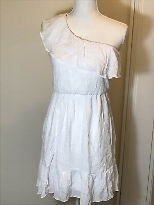 BCX Dress, White, One-Shoulder Dress, Size Small Stretchy Gauze-Type Fabric