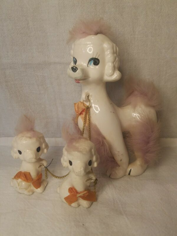 """3 Vintage Figurines  Ceramic 6"""" Poodle with puppies fur with chains"""