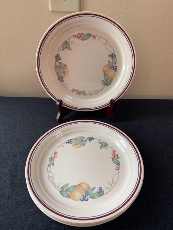 "SET OF 4 Corelle ABUNDANCE 8-1/2"" Indented Luncheon Plates; EUC!"
