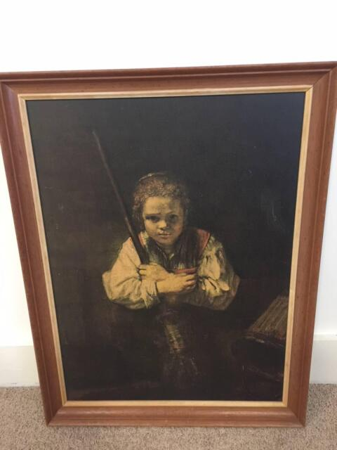 Rembrandt Framed Print A Girl With A Broom 1651 Art Gumtree
