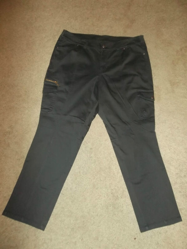 NEW NWT Plus Size 24 Lane Bryant Slate GREY / Dark Grey  Cargo Pants Jeans