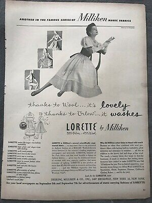 Millikin Magic Fabric~Thanks To Wool Thanks To Orlon~1950's Vintage Print AD A73