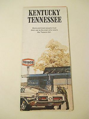 Vintage 1973 TEXACO Kentucky Tennessee State Gas Service Station Road Map