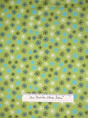 Floral Fabric - Garden Go Round Blue White Green Flowers - Studio E Cotton YARD