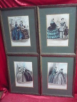 4 schöne,alte Bilder__Mode aus Paris__Les Modes Prisiennes__gerahmt-hinter Glas_