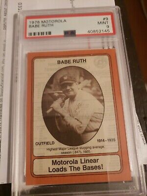 Rare1976Motorola BABE RUTH w/bat Baseball PSA9Mint Hall of Fame New York Yankees