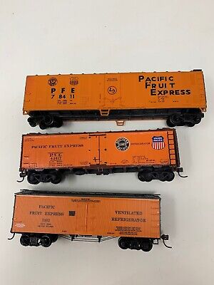 Lot of 3 HO scale Pacific Fruit Express Refrigerator Cars WO/ Boxes Union D10 for sale  Bixby