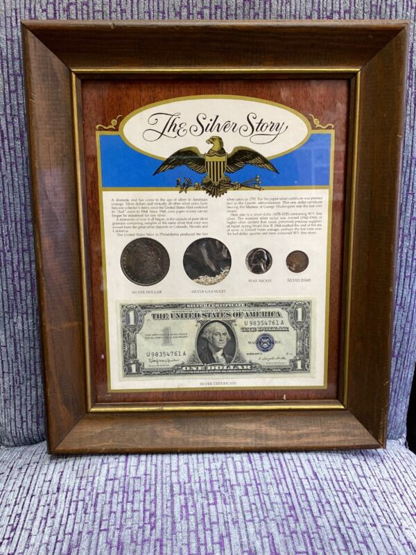VINTAGE FRAMED THE SILVER STORY UNITED STATES CURRENCY