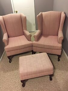 Two wing chairs with ottoman