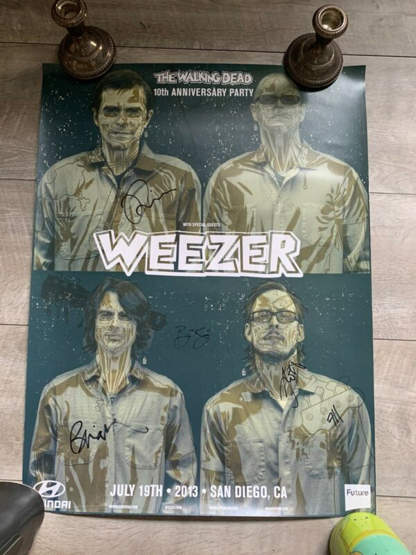 Signed Weezer Poster The Walking Dead 10th Anniversary San Diego Comic Con SDCC