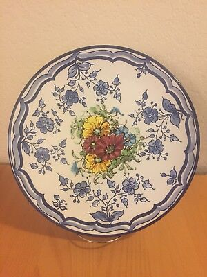 "POTTERY PLATTER WALL PLATE, 12"" HAND PAINTED Spring. Platart Spain"