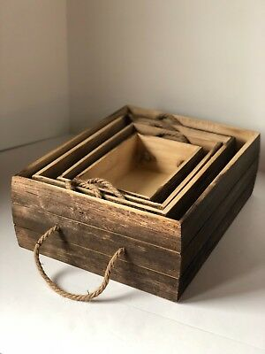 Rustic Wood Storage Boxes with Rope Handles -Set of 4 -largest 18