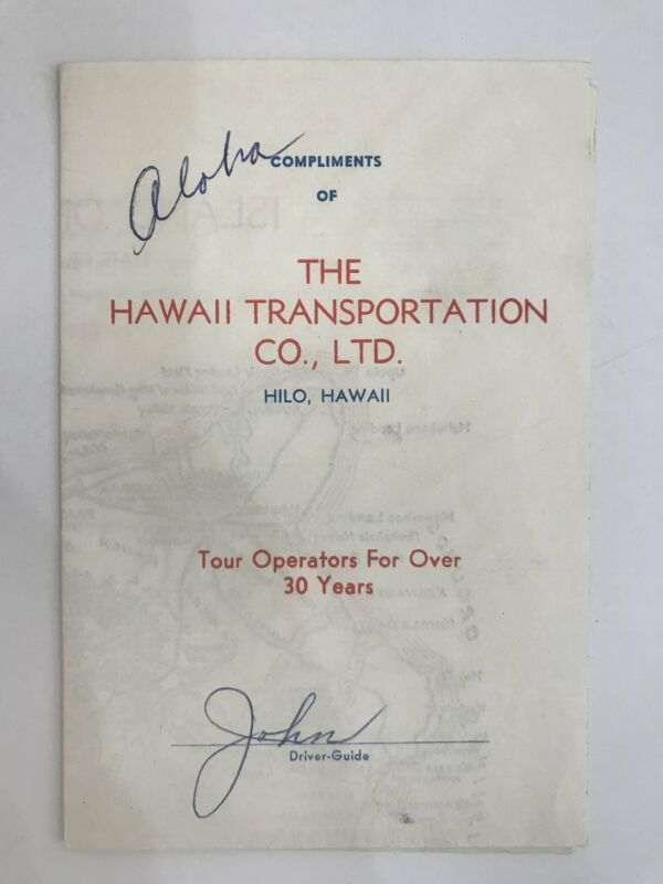 Collectible Vintage Travel Brochure Map and Guide to Big Island Hawaii