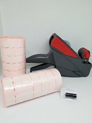 Price Labeling Gunmeto 6.22 6 Digit  Box Fluro Red Labels Ink Roller