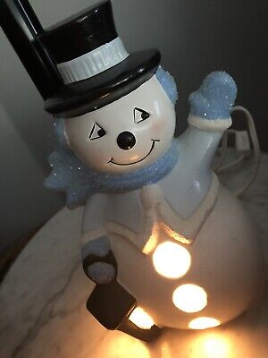 """Vtg 1980s Ceramic Hand Painted Frosty The Snowman Lamp Christmas 9"""" Tall"""