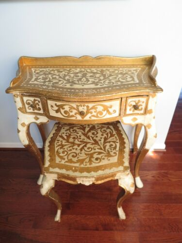 RARE Vintage ITALIAN FLORENTINE Gilt VANITY TABLE / Desk  & STOOL Set