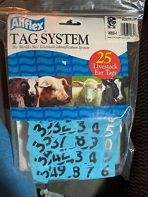 Allflex Global Hog Ear Tags With Buttons Blue 326-350 Ct 25 Pkg