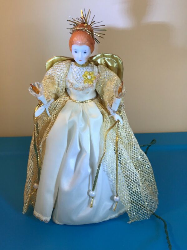 Silvestri Angel Tree Topper White Gold Porcelain Head Hands 10 Light Boxed Works