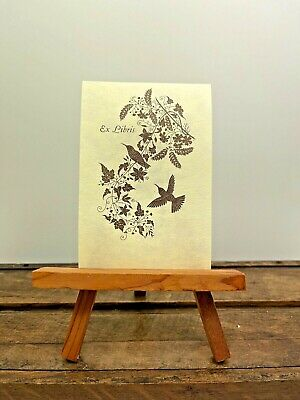 Vintage Book Plate Antioch Ex Libris Humming Birds & Flowers USA