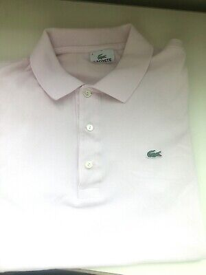 LACOSTE Men's Polo Style 100% Cotton Size 4 Light Pink SS Shirt - Lightly Worn!
