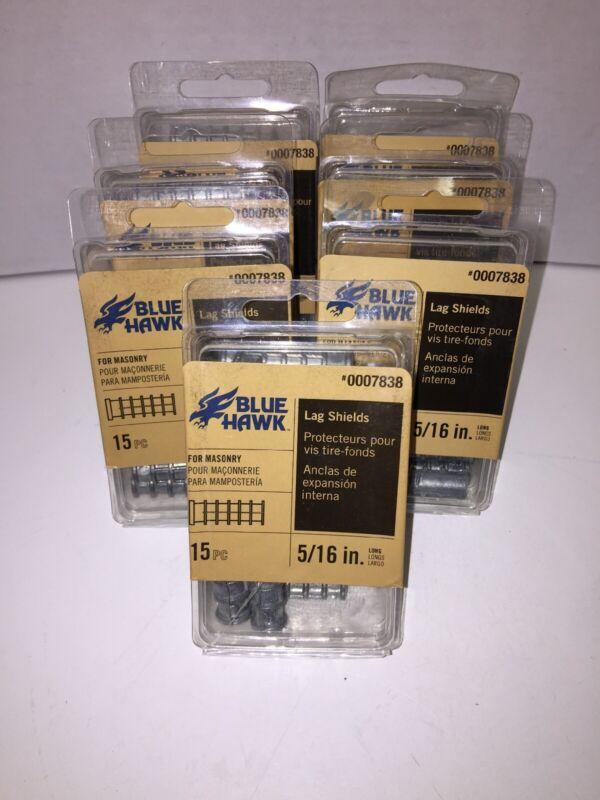 "NEW Lot of 7 Pk Blue Hawk Masonry Lag Shields 5/16"" - 15 Pc LONG 0007838"
