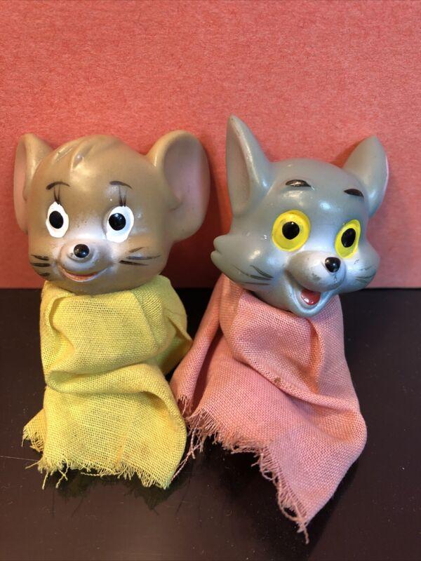 Vintage TOM & JERRY Finger Puppets Cat & Mouse Cartoon 1960s Japan