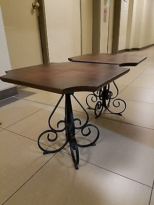 NYC p/u VTG FRENCH SCROLL WROUGHT IRON/PARQUET WOOD TABLE X2 for Coffee/End Side