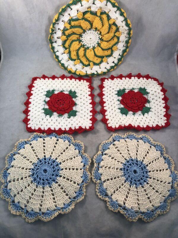 5 Handmade Crocheted Vintage  Potholders Red Rose Yellow Orange  Green Blue