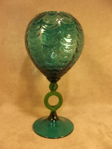 "Empoli Glass Mid Century 12"" Draped Vase ~ Blue Green with Green Ring ~ Italian"