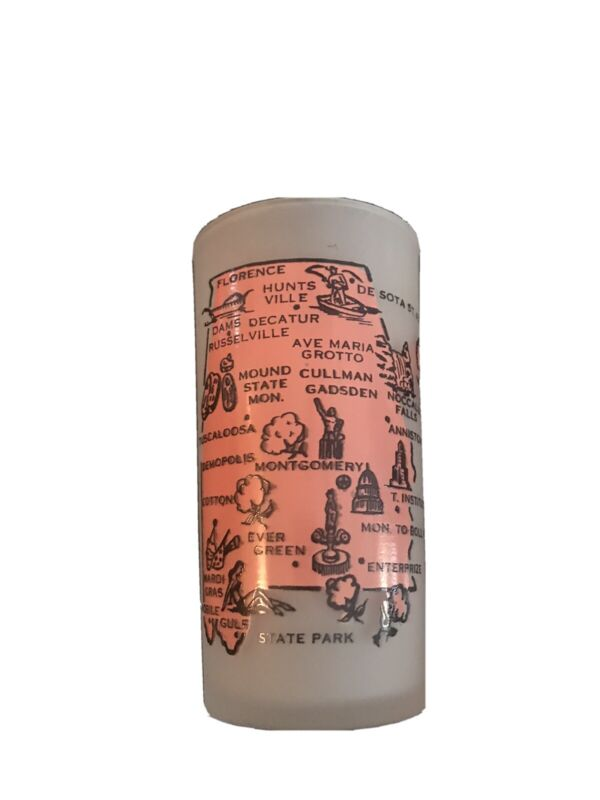 Vintage 1950's Alabama The Cotton State Map Souvenir Drinking Glass Collectible