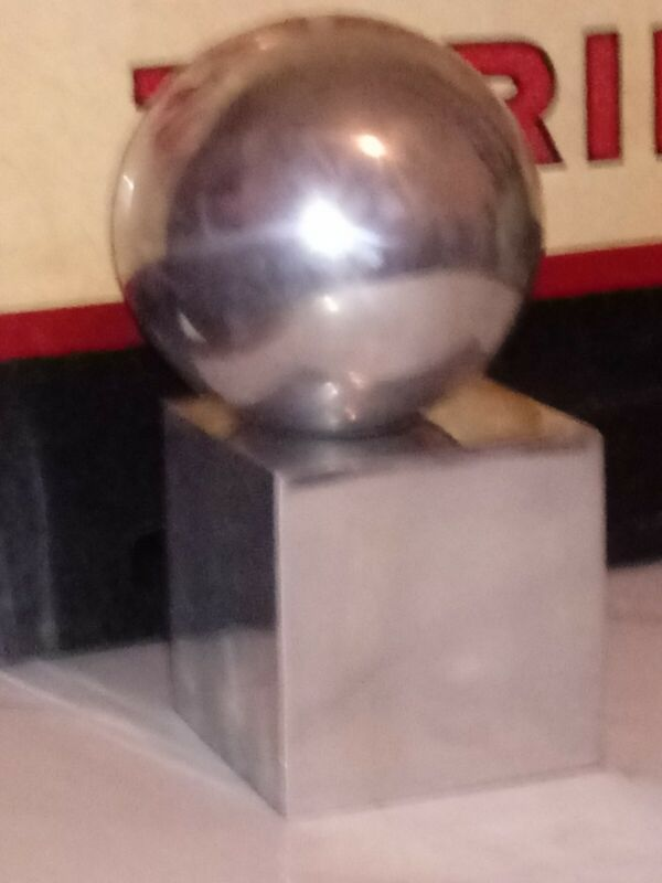 Silver Sphere minimalist sculptue mcm orb retro statue in chrome /pewter heavy