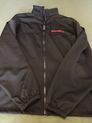 Marines Jacket Mens Coat Jacket Black Full Front Zip Up Size Large MADE IN USA for sale  Shipping to India