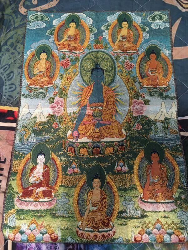 "24"" Tibetan Buddhist Silk Satin Menla Medicine Buddha Bhaisajyaguru Thangka"