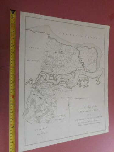 100% ORIGINAL CHATHAM AND GILLINGHAM HUNDRED KENT  MAP BY HASTED C1780/S VGC