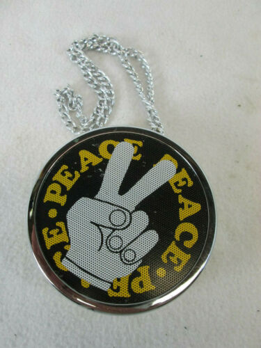 Vintage 1971 Radio Shack Realistic Peace sign AM battery operated necklace radio