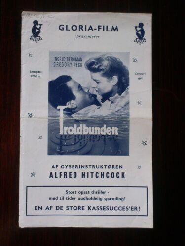 "Danish Press Release.""Spellbound"" Ingrid Bergman.Gregory Peck.Hitchcock.1945"
